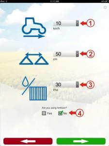 Figure 3 - Sprayer Settings Screen