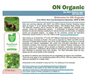 ON Organic newsletter