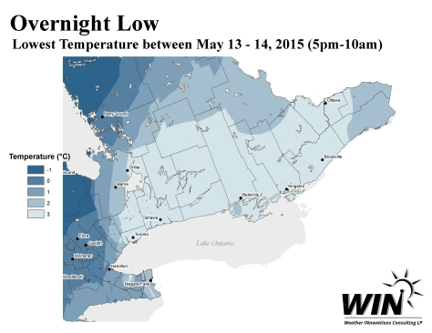 Low Temperature Map - Ontario - East - May 13 2015