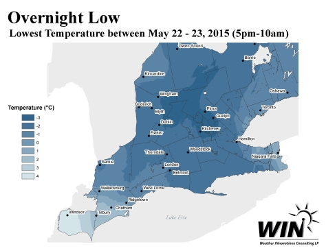 Low Temperature Map - Ontario - West - May 22 2015
