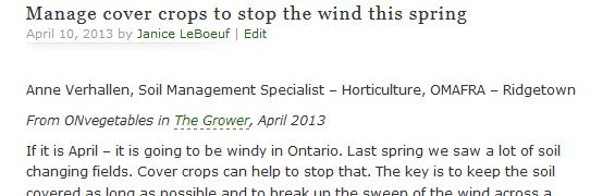 Manage cover crops to stop the wind this spring