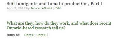 Soil fumigants and tomato production
