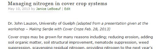 Managing nitrogen in cover crop systems