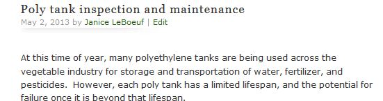 Poly tank inspection and maintenance