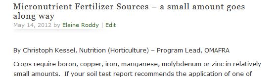 Micronutrient Fertilizer Sources – a small amount goes along way