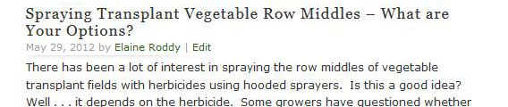 Spraying Transplant Vegetable Row Middles – What are Your Options?