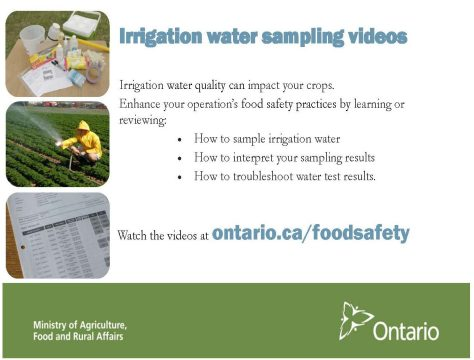 OMAFRA Irrigation water sampling videos