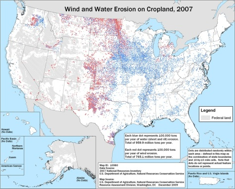 Wind and Water Erosion on Cropland, 2007, USDA
