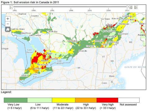 Soil erosion risk in Canada, AAFC, 2011