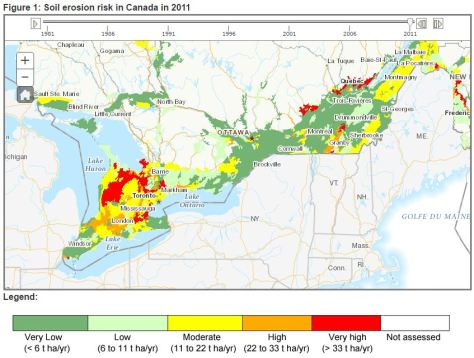 Soil erosion risk in Canada, AAFC, 2011